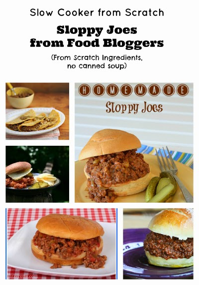 Slow Cooker Sloppy Joes from Food Bloggers (From scratch ingredients, no canned soup) found on SlowCookerFromScratch.com