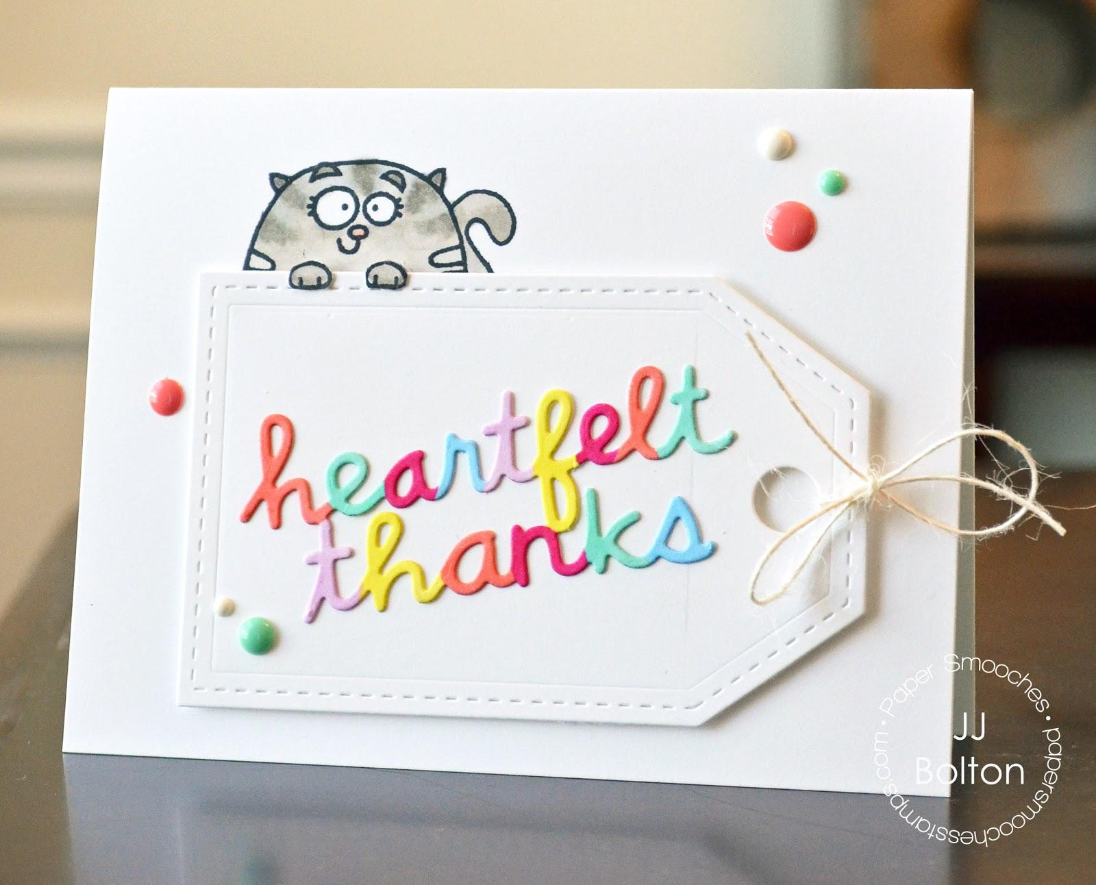 jj bolton {handmade cards}: Heartfelt Thanks with Paper Smooches