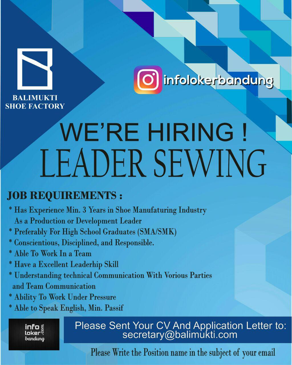 Lowongan Kerja Leader Sewing PT. Balimukti Shoe Factory Bandung September 2017