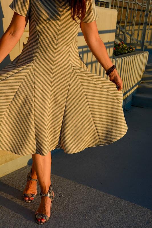 Aesthetic Nest Sewing My Bias Striped Godet Dress Vogue
