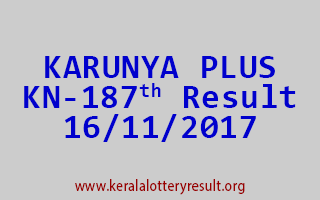 KARUNYA PLUS Lottery KN 187 Results 16-11-2017