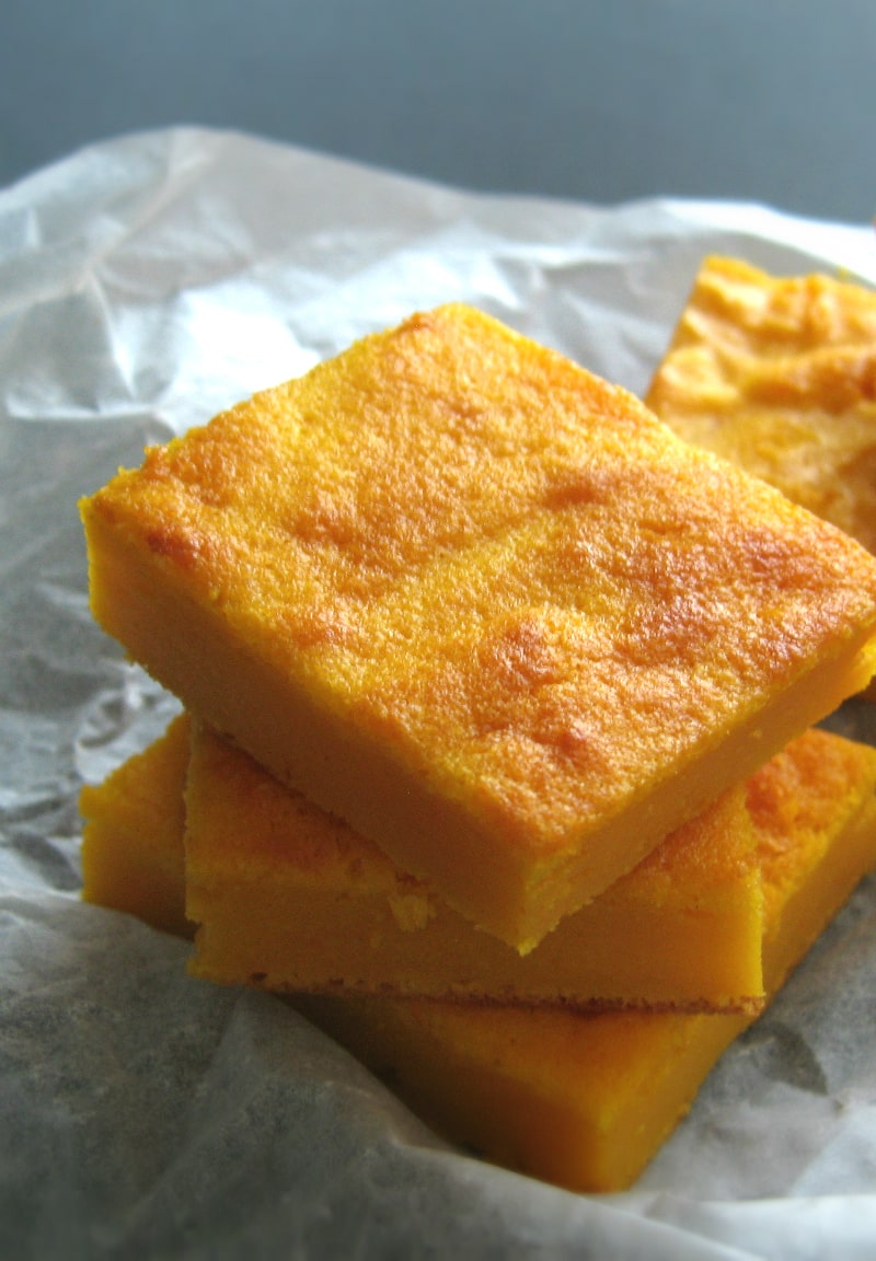 Carrot eggwhites squares seen up close