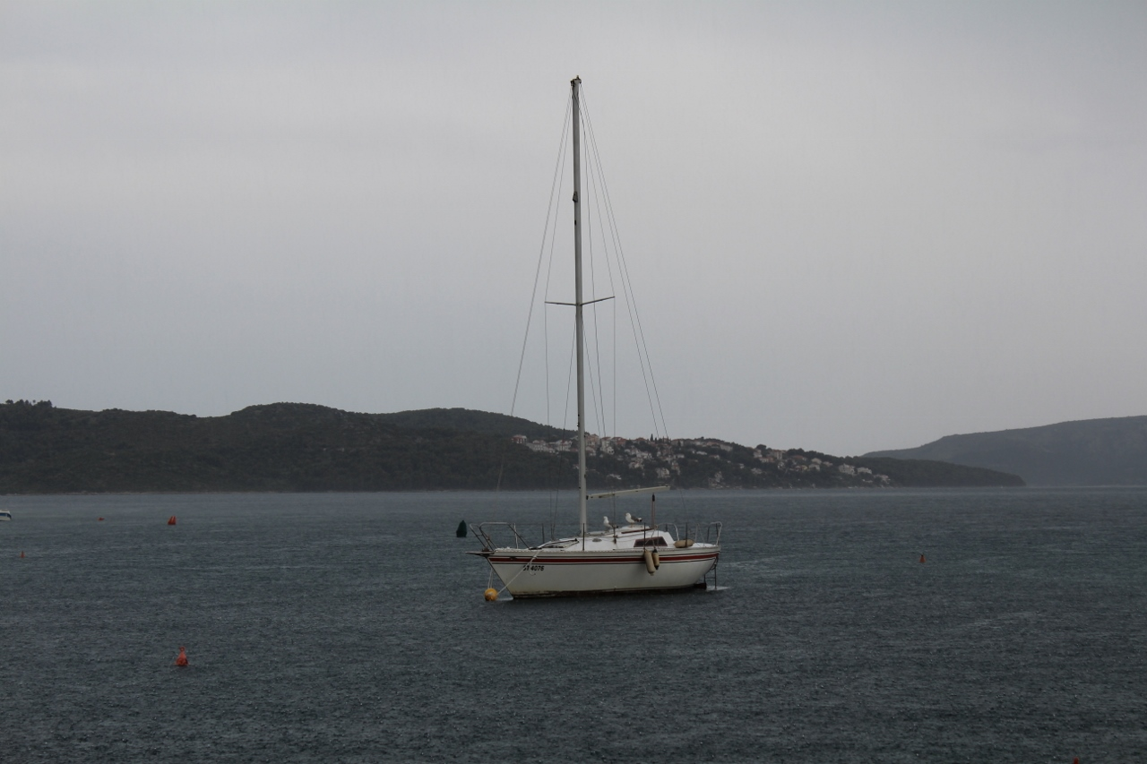 Boat in the storm at Trogir