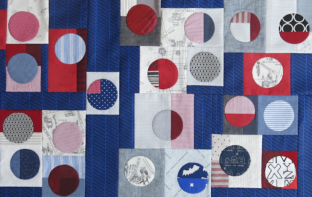 Quilty 365 - Hand applique circles - Detail of top #1