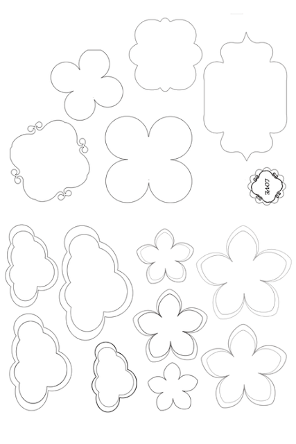 Flowers, Clouds and More: Topper or Label Templates.