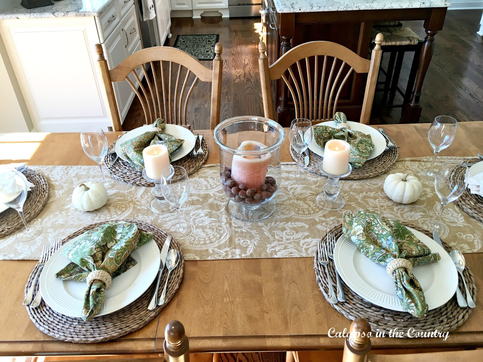 Kitchen Table Set for Fall using textures and neutrals