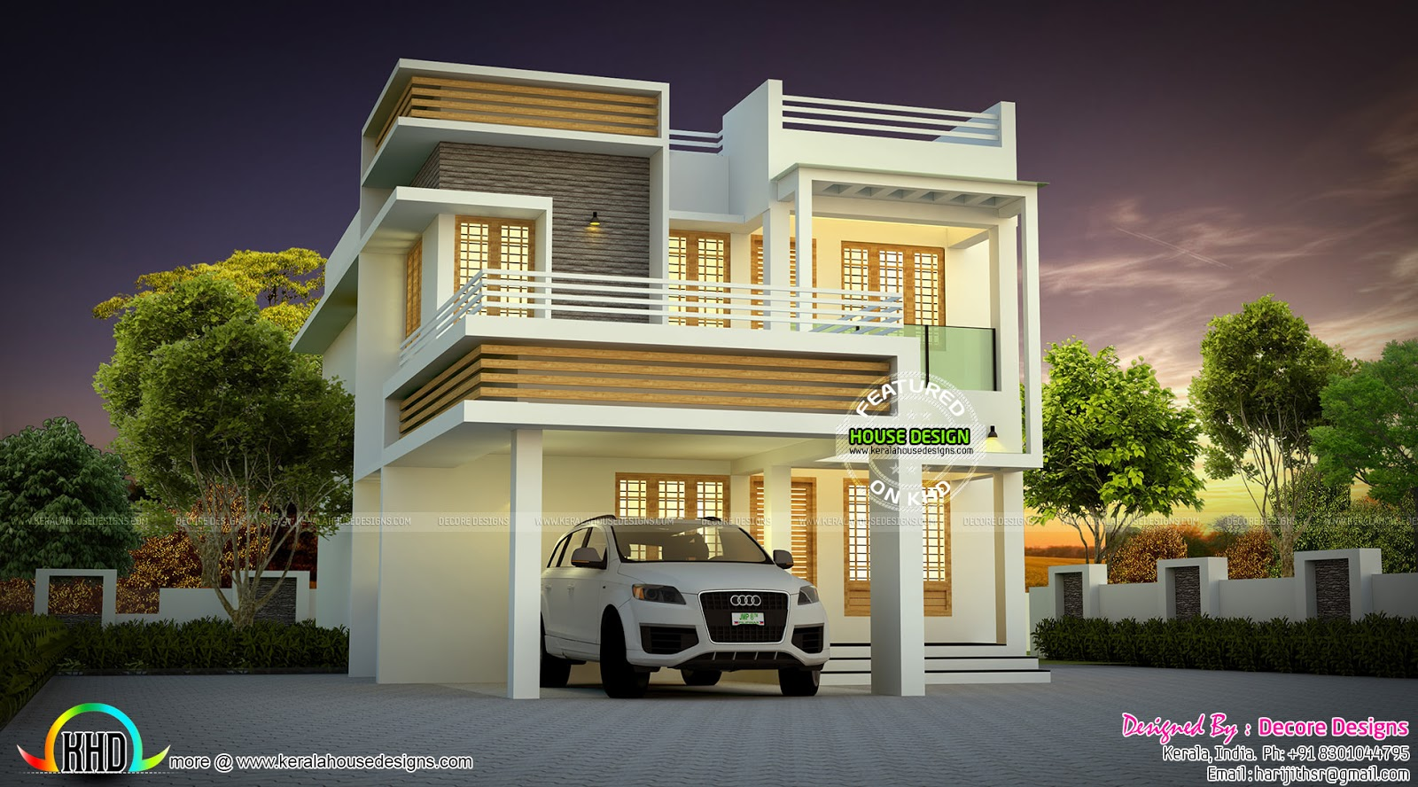 Very cute small contemporary home kerala home design and for Small contemporary house plans in kerala