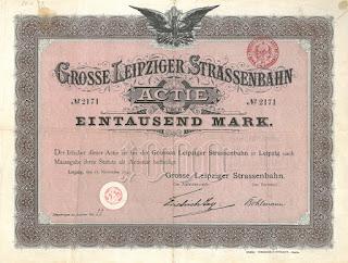 Grosse Leipziger Strassenbahn 1000 Mark share Leipzig 1895 printed by Giesecke & Devrient