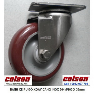Bánh xe đẩy hàng PU càng inox 304 xoay Colson phi 100 | 2-4456-944 www.banhxepu.net