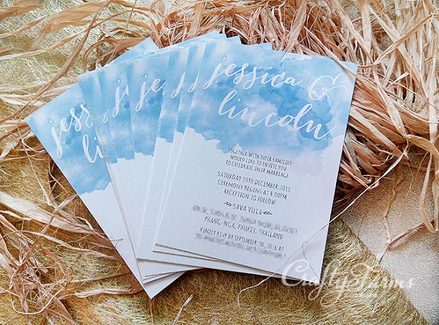 Watercolour and Calligraphic Style Wedding Invitation Cards