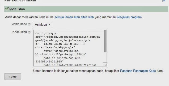 Kode Iklan Adsense