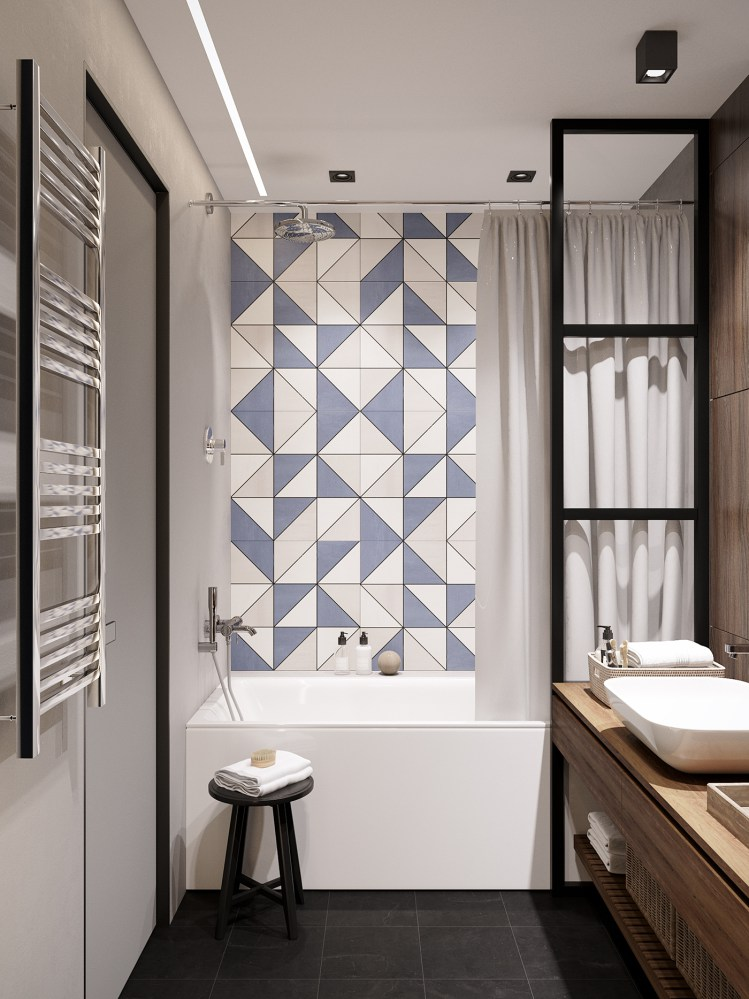 Azulejos geométricos para baño
