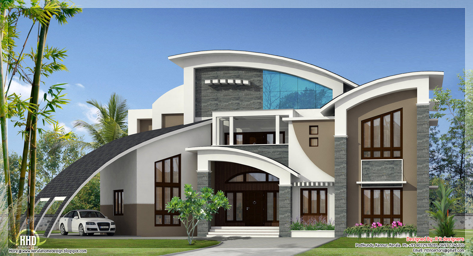 A unique super luxury kerala villa kerala home design for Unique farmhouse plans