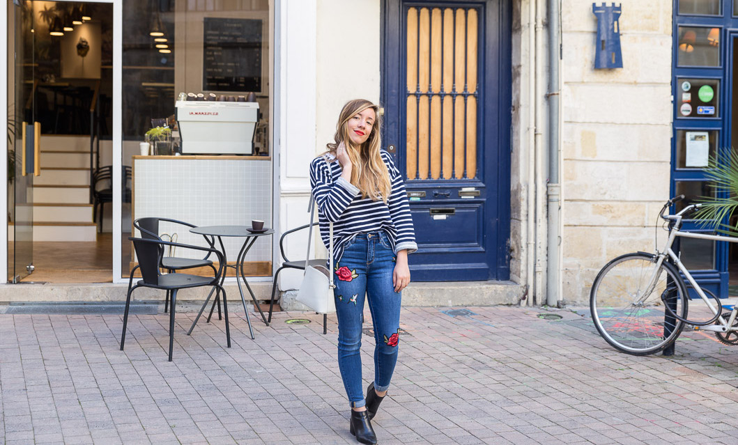 tendance jean slim broderies