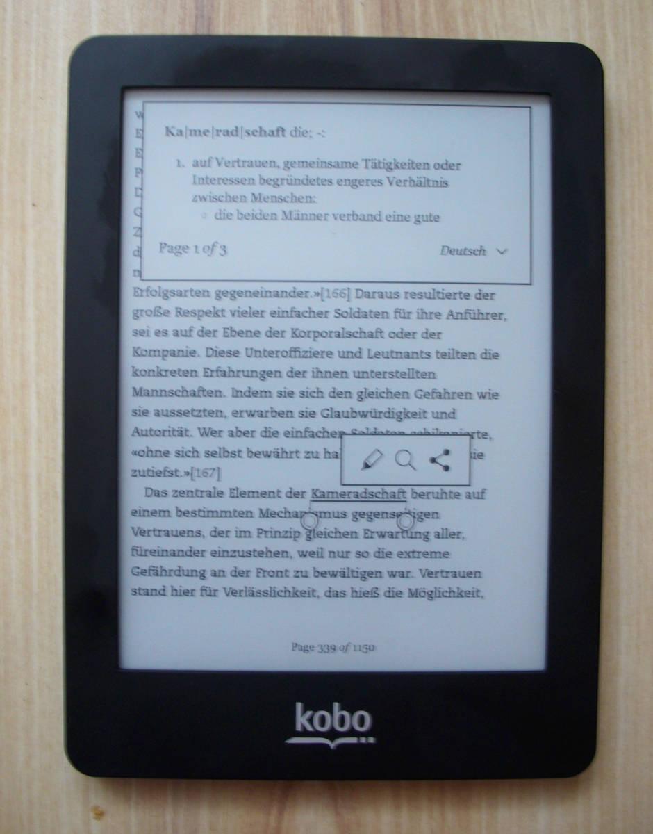 Kobo Glo - działanie słownika z poziomu ebooka
