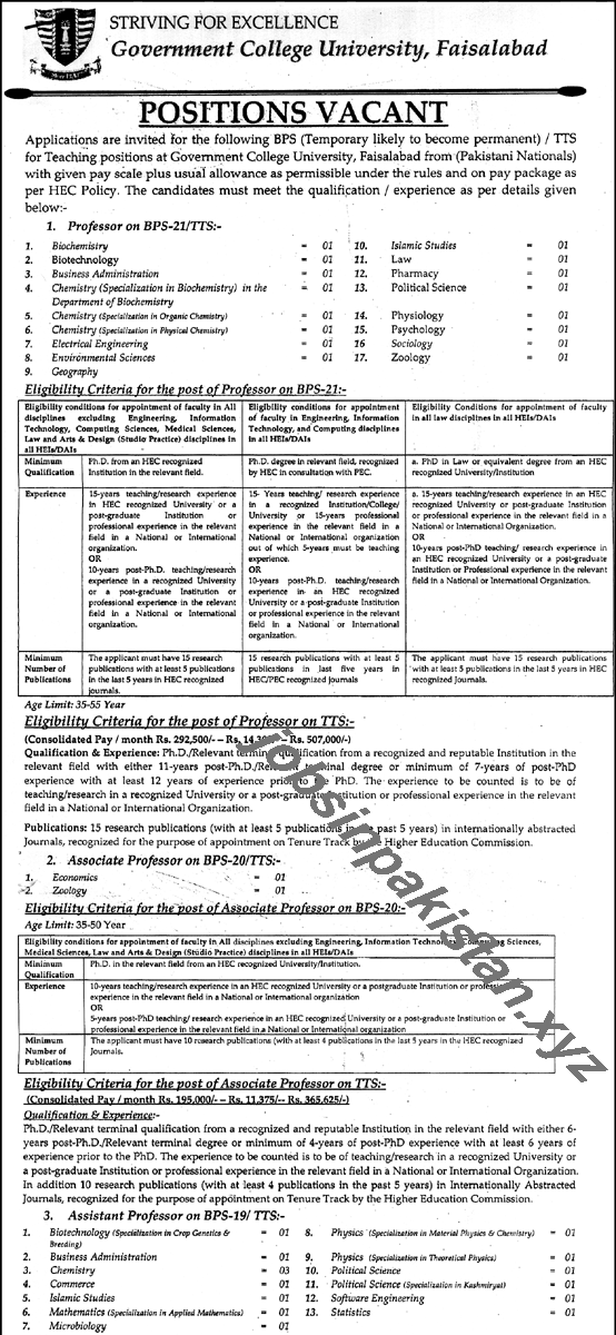 Government College University Faisalabad Jobs 2018 Advertisement Page Number 1/2