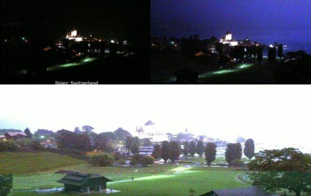 Странные вспышки света замечены над Шпицем в Швейцарии