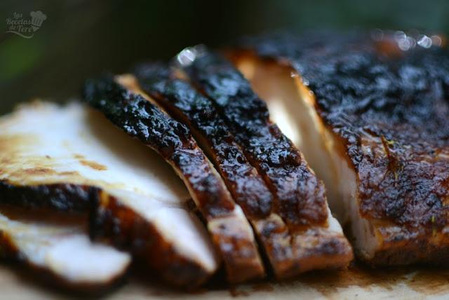 Lomo de cerdo con costra de azúcar moreno, receta casera