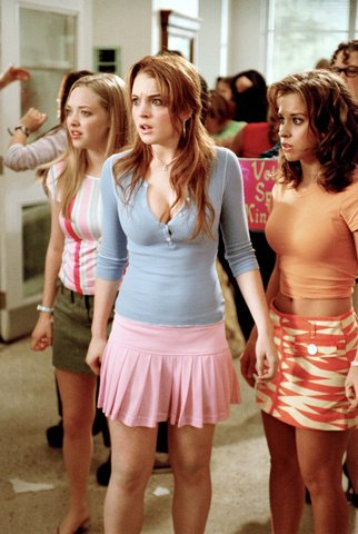 Amanda Seyfried, Lindsay Lohan, and Lacey Chabert in Mean Girls