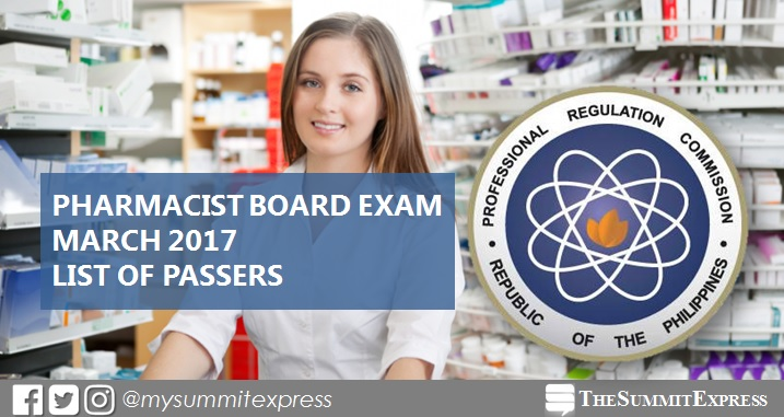 List of Passers: March 2017 Pharmacist board exam results