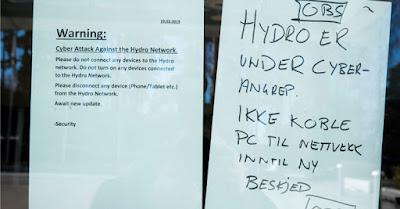 Produtora de alumínio Norsk Hydro é atingida por ataque cibernético.
