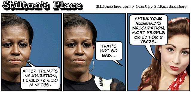 stilton's place, stilton, political, humor, conservative, cartoons, jokes, hope n' change, michelle obama, tears, cried for 30 minutes, fuck her, inauguration