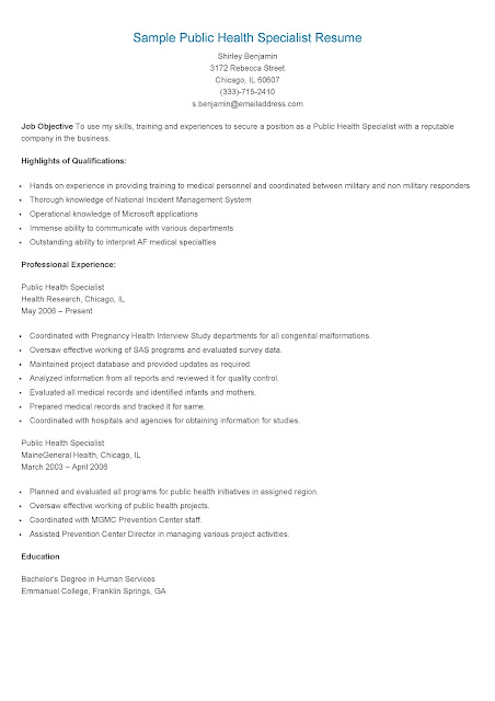 resume samples  sample public health specialist resume