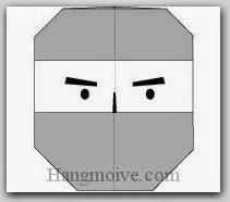 Bước 7: Vẽ mắt để hoàn thành cách xếp mặt Ninja bằng giấy theo phong cách origami.