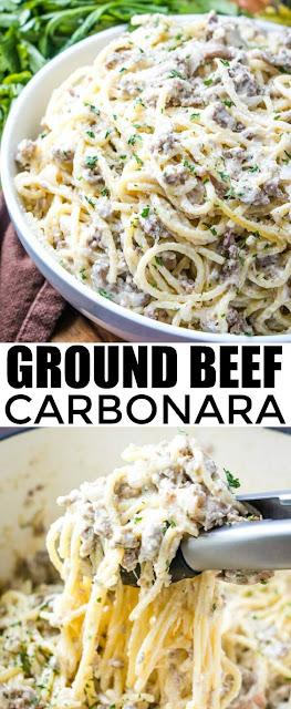 GROUND BEEF CARBONARA