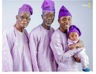 Trending! Check Out A Four Generation Photo of A Nigerian Man With His Grandfather, Father And Son