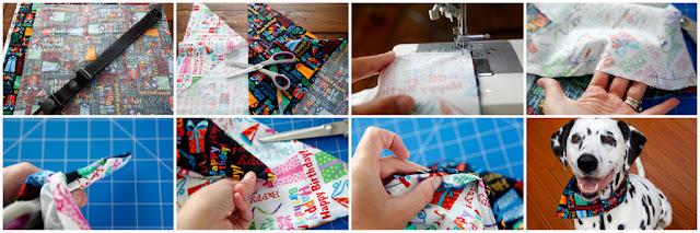 Step-by-step how to make a DIY reversible dog bandana