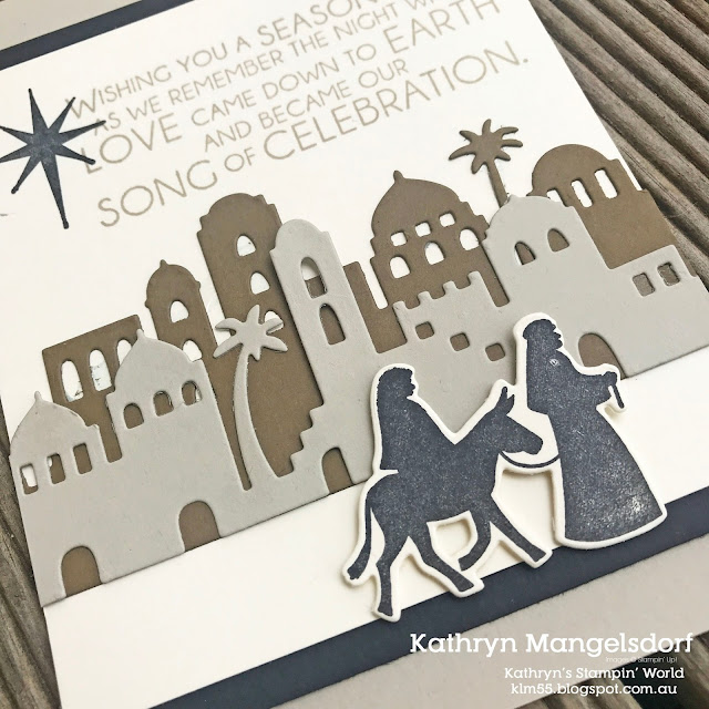 Stampin' Up! Night in Bethlehem and Bethlehem Edgelits Dies, Christmas Card by Kathryn Mangelsdorf