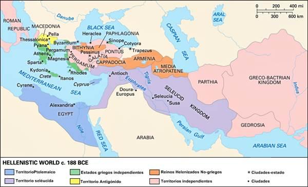 Egipto como parte del mundo helenístico, c. 188 a.