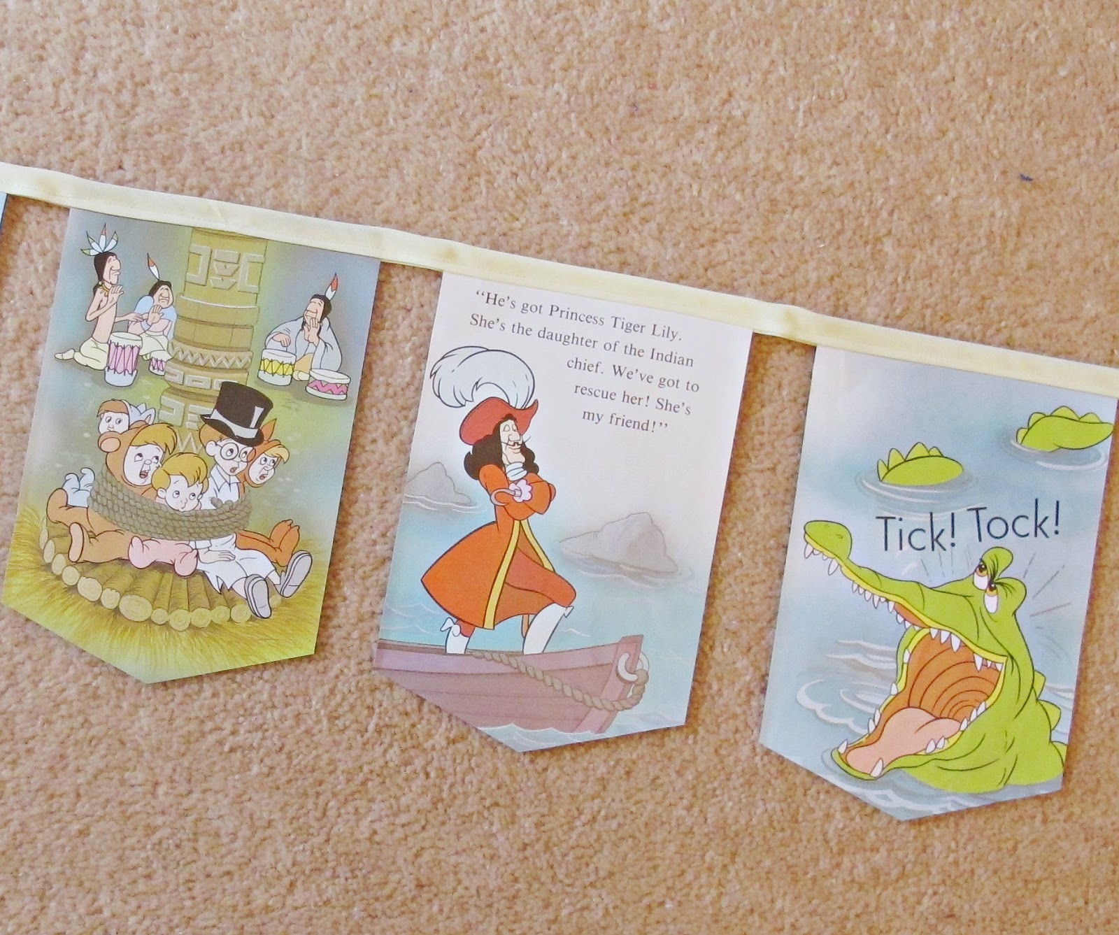 image peter pan bunting lm barrie domum vindemia captain hook crocodile children children's girl's girls boys boy's party decor room nursery baby shower bunting garland disney