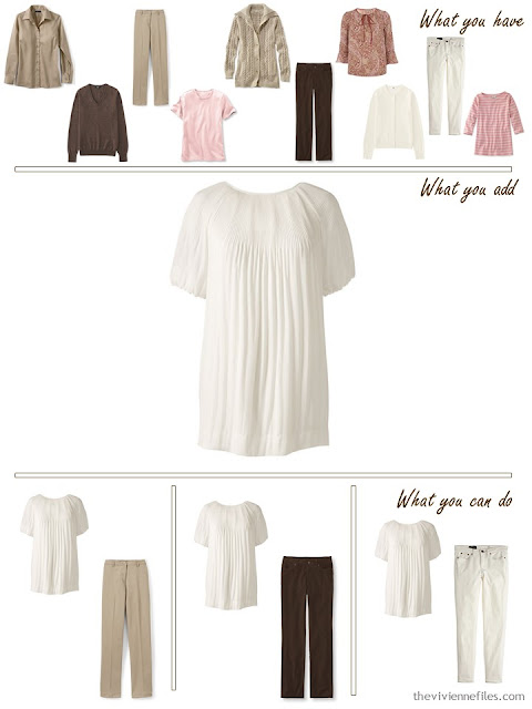 add an ivory pleated blouse to a brown, khaki and pink wardrobe