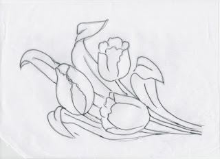 risco de tulipas para pintar em tecido