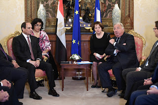 President Al-Sisi discusses with the French Senate President bilateral relations
