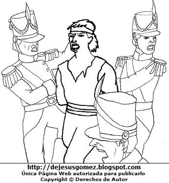 Dibujo de Pedro Vilca Apaza siendo arrestado por los españoles para colorear pintar. Dibujo de Pedro Vilca Apaza hecho por Jesus Gómez