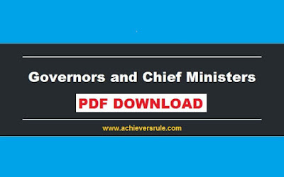 List of Governors and Chief Minister of India