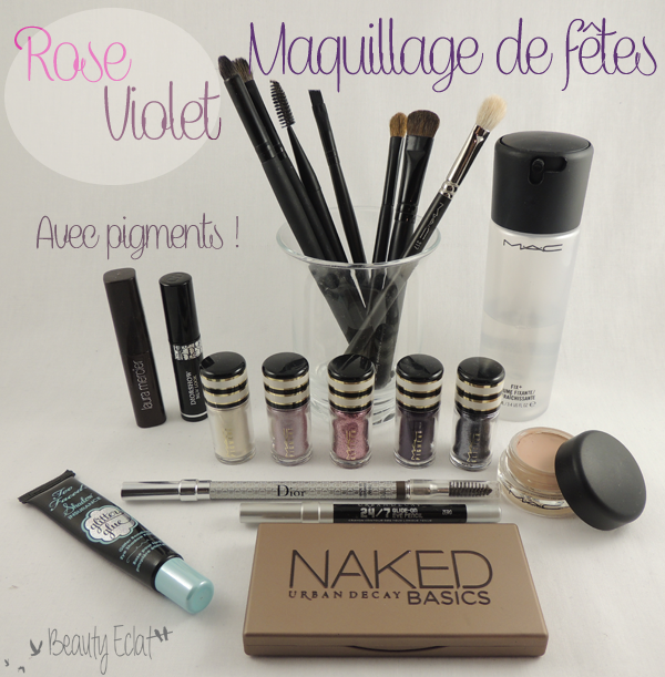 tutoriel maquillage de fetes paillettes rose violet