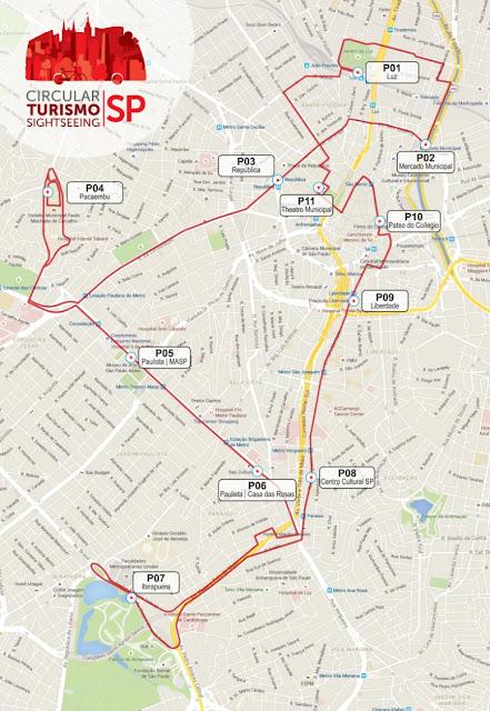Mapa com a rota e os pontos de parada da Circular Turismo SP