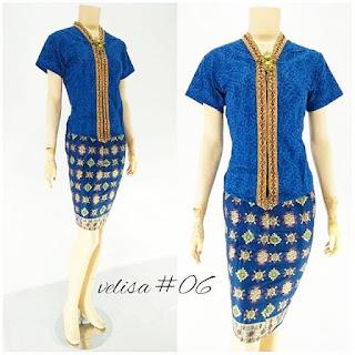 Model Baju Rok Blouse Batik Modern Velisa06 biru