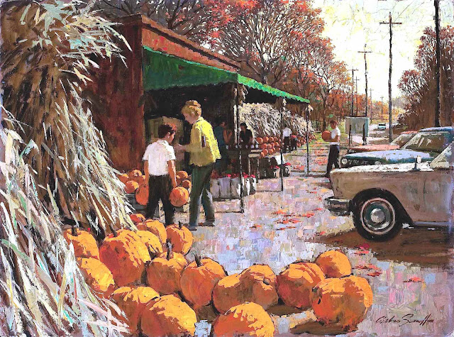 an Arthur Saron Sarnoff painting, autumn scene with pumpkins for sale