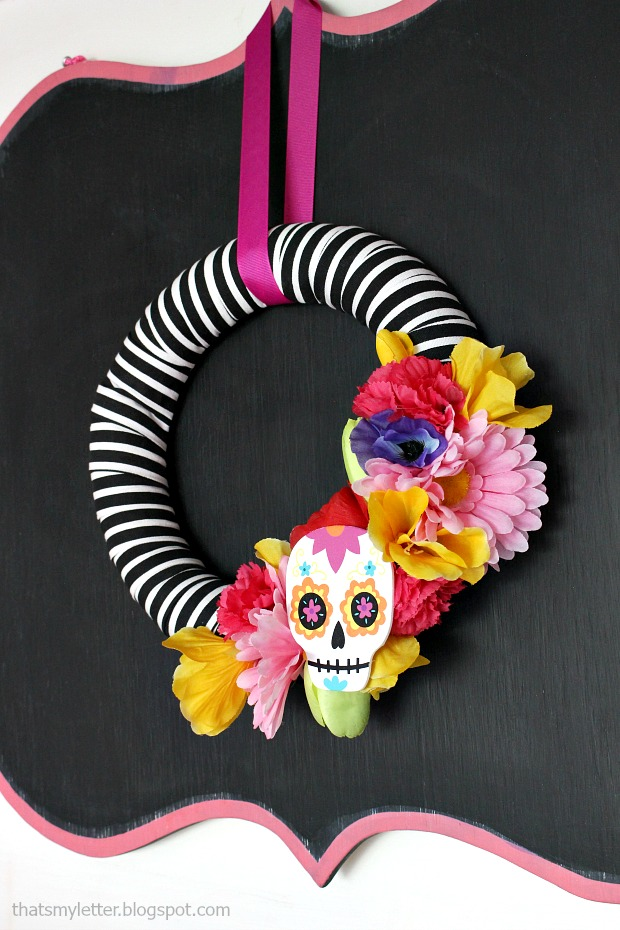 diy sugar skull wreath
