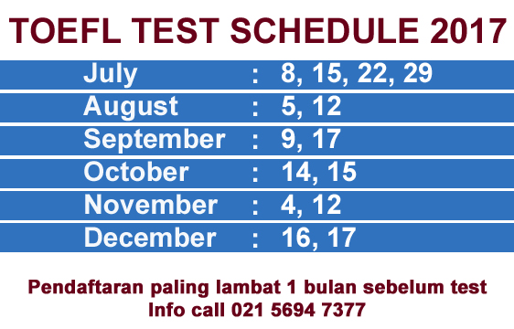 Toefl exam dates in Australia
