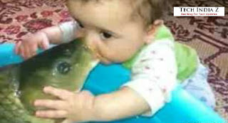 Small child kissing fish