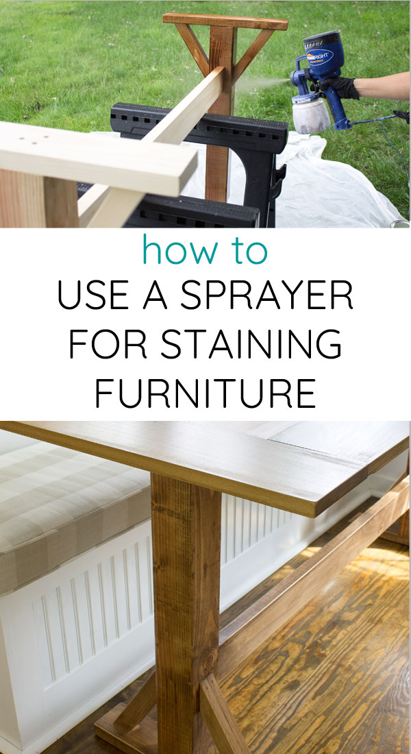 How to stain furniture with a paint sprayer. It's so easy!