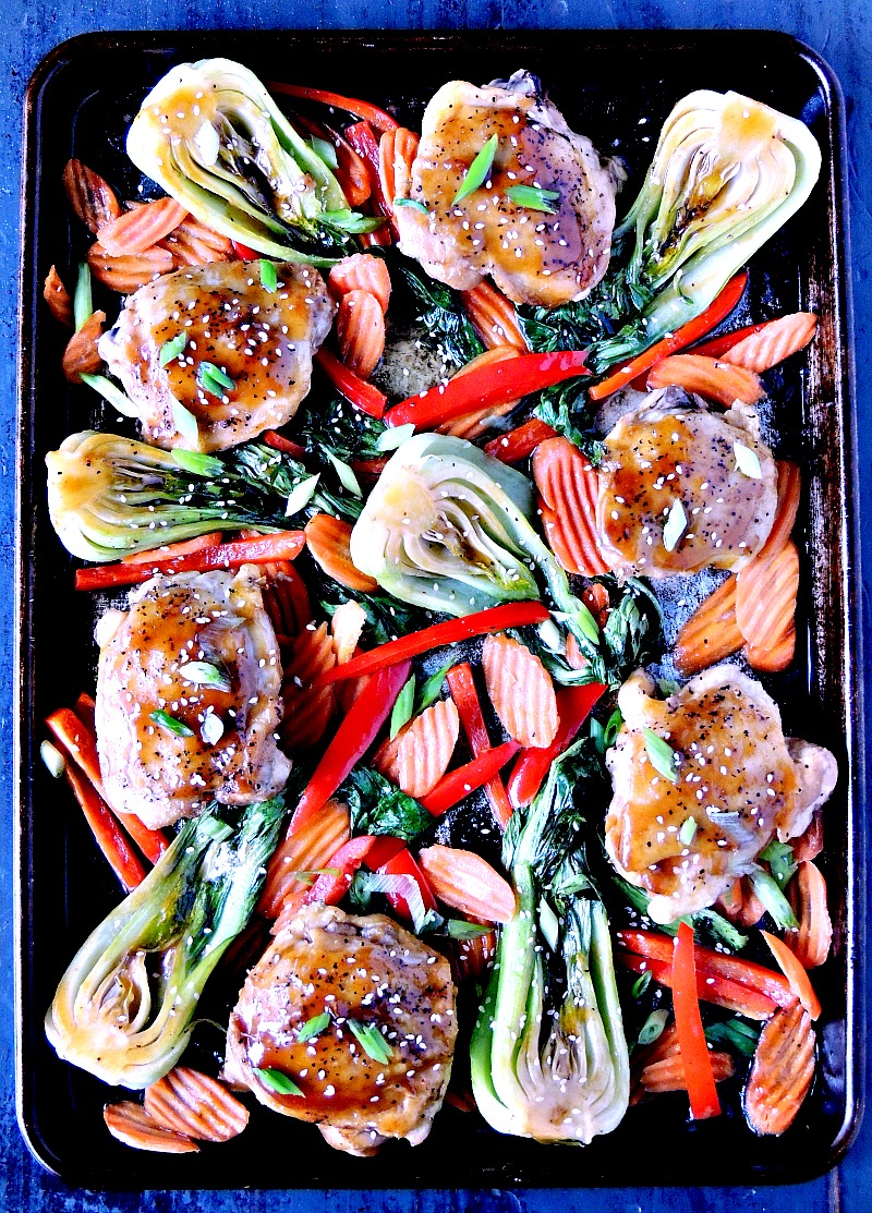 Teriyaki chicken and veggies all cooked to perfection on one baking sheet. Who needs takeout when dinner is this easy? From www.bobbiskozykitchen.com