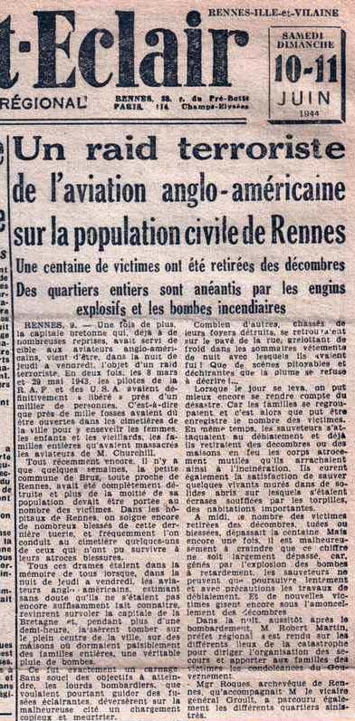 Article extrait de l'Ouest-Éclair du 10 juin 1944 - Edition régionale - Les bombardement anglo-américains sur Rennes