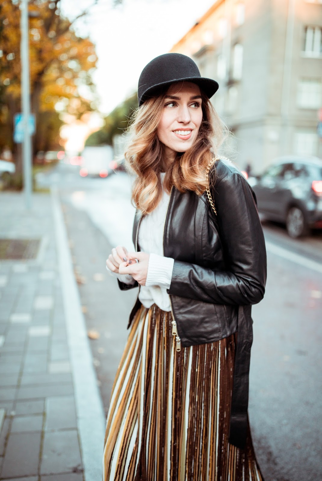 leather jacket felt cap outfit fall